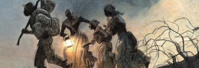 Harriet Tubman using the underground railroad to lead enslaved African Americans to freedom