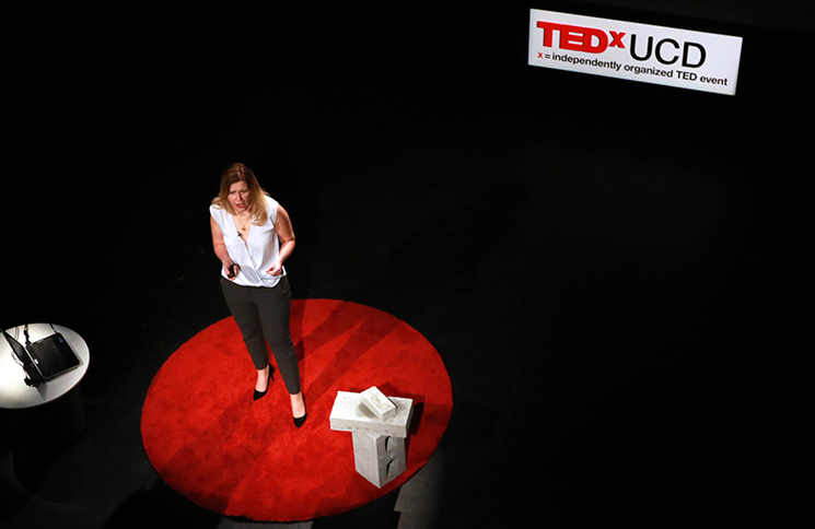 Dr Cara Auguestenborg speaking at Ted X