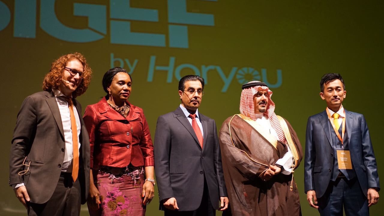 Opening ceremony of SIGEF 2016 with Yonathan Parienti, Founder of Horyou, H.E Rosalie Matondo, Minister of Environment Republic of Congo, Dr. Ali Bin Samikh Al Marri, Chairman of the National Human Rights Committee (NHRC) in Qatar, HRH Prince Nawaf bin Saad al Saud, Chairman of the Al-Hilal Saudi football club and Yasuhiro Yamamoto, President of Eneco Holdings.