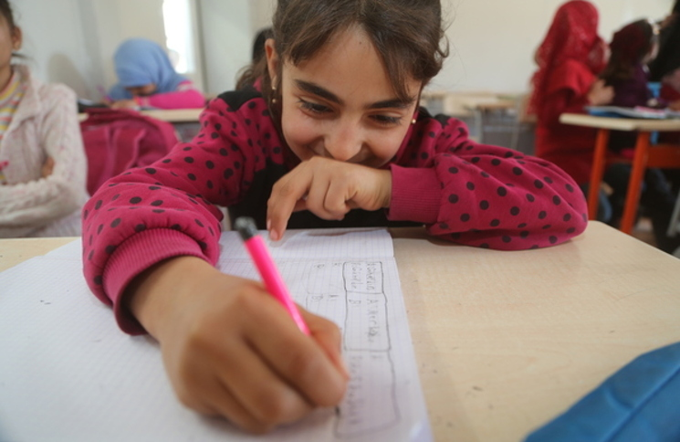 Girl in a Turkish language class in a refugee camp in southern Turkey